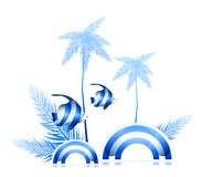 Palm and fish. Illustration drawing of beautiful blue palm and fish Stock Photography