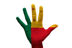 Palm flag benin. Man hand palm painted flag of benin Royalty Free Stock Photo