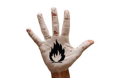 palm flammable royalty free stock image