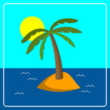 Palm. Flat background with palm tree on island. Eps 10 Stock Photo