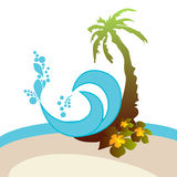 Palm, flowers, waves Stock Images
