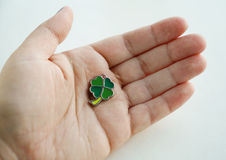 Palm with four-leaf clover Royalty Free Stock Photography