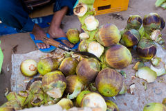 Palm fruits on Don Det. Sweet palm fruits on Don Det island in south Laos. Local market on four thousands islands Si Phan Don on Mekhong river in south east asia royalty free stock photography