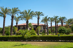 Palm Garden in front of house Royalty Free Stock Photo