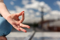 The palm in a gesture of concentration Royalty Free Stock Image