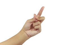 Palm get idea finger sign show Royalty Free Stock Images