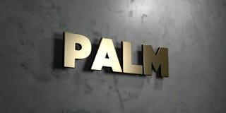 Palm - Gouden teken opgezet op glanzende marmeren muur - 3D teruggegeven royalty vrije voorraadillustratie Royalty-vrije Stock Afbeelding