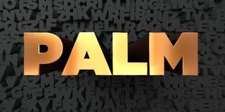 Palm - Gouden tekst op zwarte achtergrond - 3D teruggegeven royalty vrij voorraadbeeld Stock Afbeelding