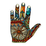 Palm hand drawn zentangle Royalty Free Stock Photo