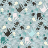 Palm Hand Seamless Vector Retro Pattern Royalty Free Stock Photography