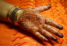 Palm with Henna design Royalty Free Stock Image