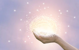 Palm hold and protect virtual brain on pastel background, innova Stock Image