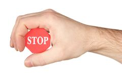 Palm holding stop sign Royalty Free Stock Photos