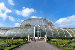 Palm House, an iconic Victorian glasshouse that recreates a rainforest climate located at Kew Garden, England. London, UK - April 2018: Palm House, an iconic Stock Images