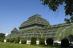 Palm house in landscape park of Schonbrunn Royalty Free Stock Photography