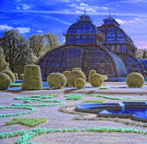 Palm House in palace park at Schonbrunn palace in Vienna Royalty Free Stock Photography