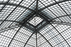 Palm house roof detail, detail showing steel beams and frame Stock Image
