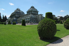 Palm house in Schonbrunn garden in Vienna, Austria Royalty Free Stock Images