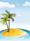 Palm island. Illustration deserted island with a palm tree in the ocean Stock Photos