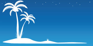 Palm Island. Two palm trees on the island Stock Image