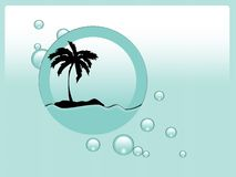 Palm on island. Illustration of lonely palm on the island Stock Image
