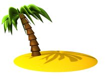 Palm and island. Summer on the beach on island Royalty Free Stock Images