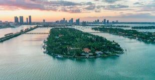 Palm Island aerial view at dusk, Miami - Florida.  royalty free stock photo