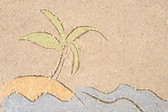 Palm on island drawing in sand Stock Photo