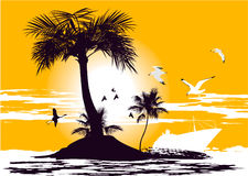 Palm Island in the ocean Stock Photo