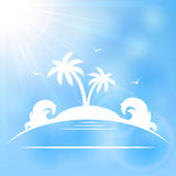 Palm island on sunny background Royalty Free Stock Photos