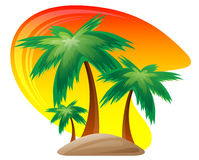 Palm island at sunset background. Stock Images