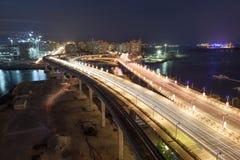 Palm Jumeirah Highway at night, Dubai Stock Photography