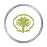 The Palm Jumeirah icon in cartoon style isolated on white background. Arab Emirates symbol stock vector illustration. Stock Images