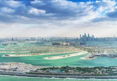 Palm Jumeirah island and Dubai skyline aerial view Royalty Free Stock Photography