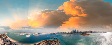 Palm Jumeirah and Marina skyline in Dubai, panoramic aerial view Royalty Free Stock Photography