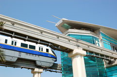 The Palm Jumeirah monorail station and train Stock Photos