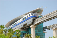The Palm Jumeirah monorail station and train Royalty Free Stock Photography