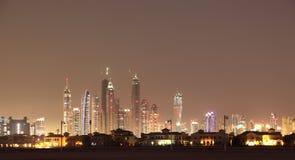 Palm Jumeirah at night. Dubai Stock Photos