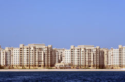 The Palm Jumeirah, Shoreline apartments. The Palm, the self-declared 'eighth wonder of the world': An enormous man-made island resembling a palm tree, stretching Stock Photography