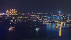 Palm Jumeirah with yahcts with Atlantis hotel at stock video footage