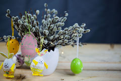 Palm kitten and easter egg and easter bunny Royalty Free Stock Image
