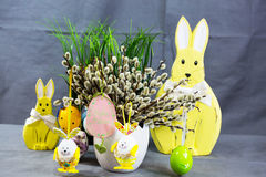 Palm kitten and easter egg and easter bunny Royalty Free Stock Photo