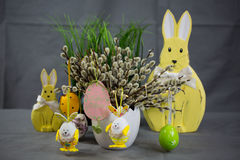 Palm kitten with easter egg and easter bunny Stock Photography