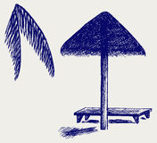 Palm Leaf Beach Umbrella Royalty Free Stock Images