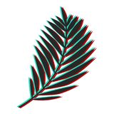 Palm leaf with glitch effect. Color channel distorted vector ill. Ustration of tropical exotic palm leaf Royalty Free Stock Photos