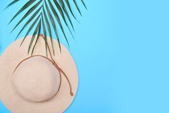 Palm leaf, pineapple and hat on blue background. Summertime background. Vacation concept royalty free stock photos
