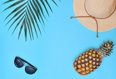 Palm leaf, pineapple, sunglasses and hat on blue background. Palm leaf, pineapple and hat on blue background. Summertime background. Vacation concept royalty free stock photos