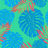 Palm leaf seamless pattern background of tropical trees branches. Vector exotic design template for textile fabric print adornment or interior wallpaper royalty free illustration