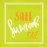 Palm leaf summer sale. Seasonal wallpaper Stock Photography