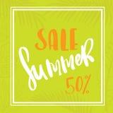 Palm leaf summer sale. Seasonal wallpaper. Palm leaf summer sale up to per cent off design web banner or poster Stock Photography